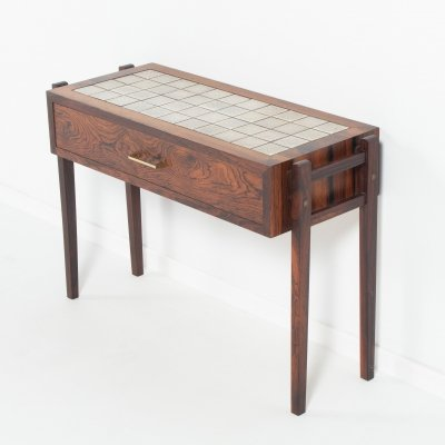 Danish ceramic tiles top rosewood side/hall table, 1960's