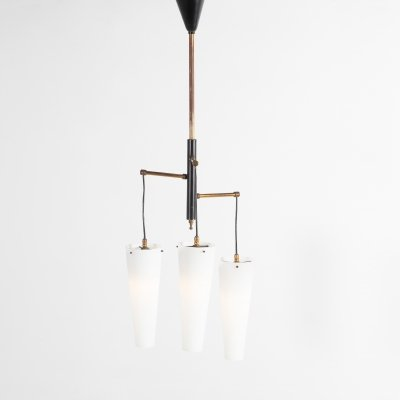 Italian Modern Architectural Murano shades ceiling lamp, 1950's