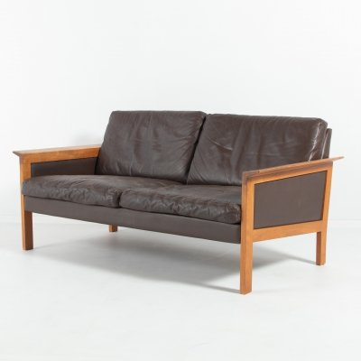 Vintage Danish two seats brown leather sofa from Hans Olsen
