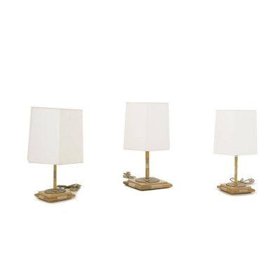 Three Table Lamps in Wood & Brass, 1970s