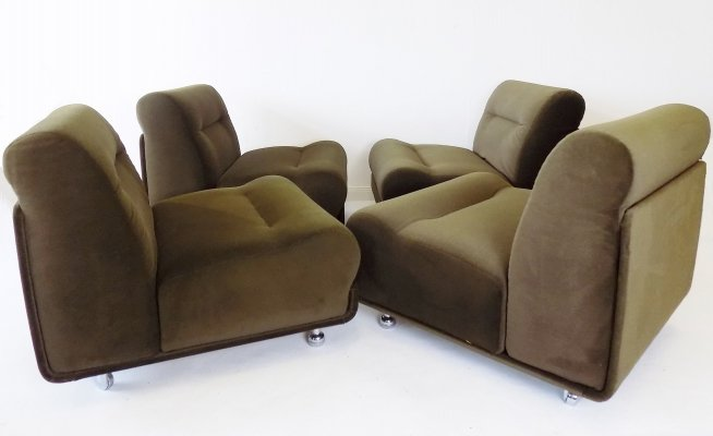 COR Concha set of 4 brown modular armchairs by Jo Otterpohl, 1960s