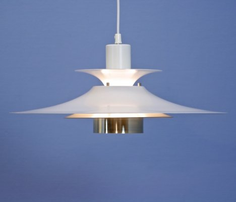 Danish hanging lamp in white with brass accent, 1980s