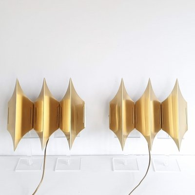 Pair of brass Gothic III Wall Lamps by Lyfa, 1960s