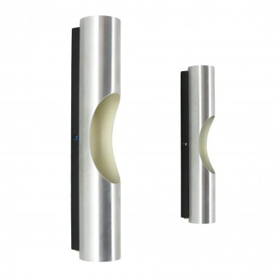 Pair of Brushed aluminium Fuga wall lights by Maija Liisa Komulainen for Raak Amsterdam, 1970s