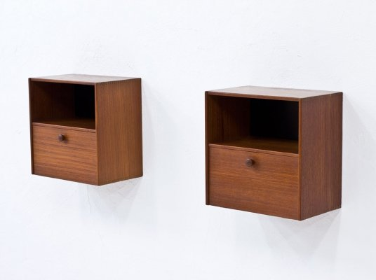 Pair of Wall-Mounted Night Stands in Teak by Troeds