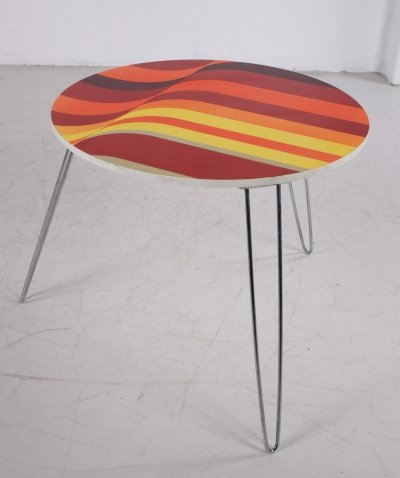 Vintage round coffee table with chrome legs, 1970s