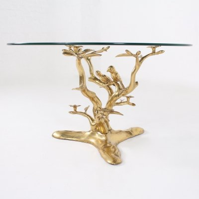 Glass & solid brass coffee table with birds by Willy Daro, Belgium 1970's