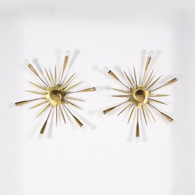 Pair of brass 'sun' wall or ceiling lights, Italy 1960's