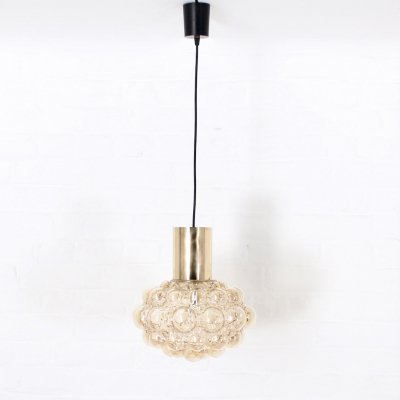 Amber blown glass & brass pendant light by Helena Tynell for Limburg, 1960's