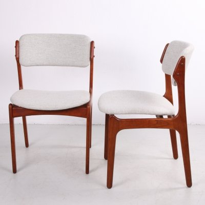 Pair of teak dining room chairs by Erik Buch for Odense Maskinsnedkeri / O.D. Møbler, 1960s