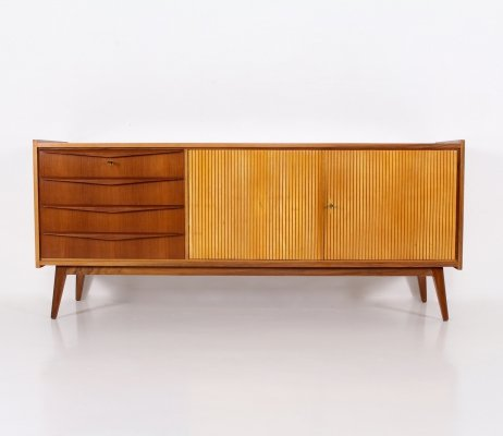 Modernist walnut & fruit wood sideboard by G. Tietjen for GTV Werkstätten, 1950's