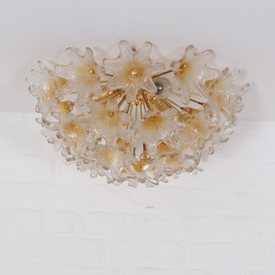 Glass & brass 'Flowerball' ceiling lamp by Paolo Venini for VeArt Murano, 1970's