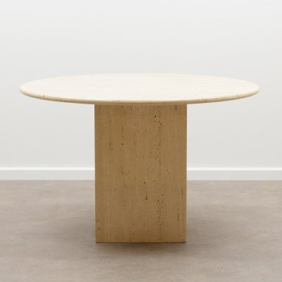 Round travertine dining table, Italy 1970s