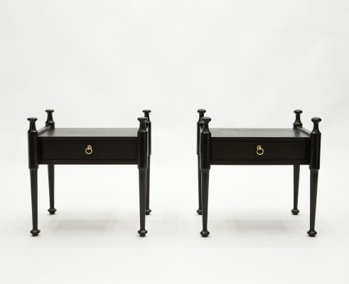 Pair of French Night Stands in black tinted wood & brass, 1970s