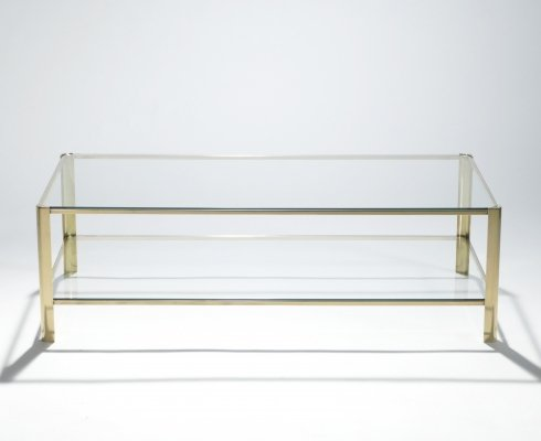 Signed bronze two-tier coffee table Jacques Quinet for Broncz, 1960s