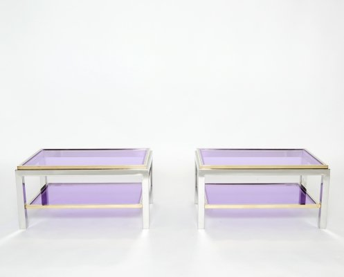 Pair of Two-Tier brass chrome 'Flaminia' end tables by Willy Rizzo, 1970s