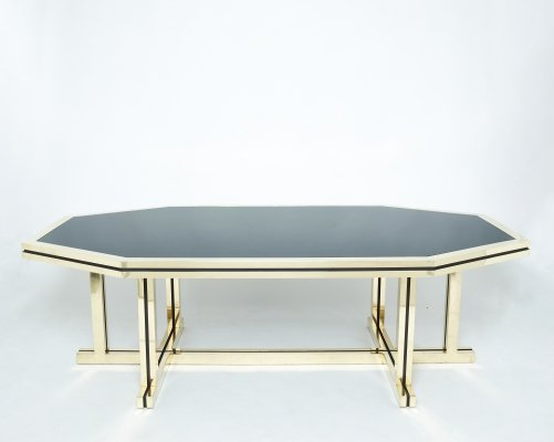 Rare brass black opaline glass Maison Jansen dining table, 1970s