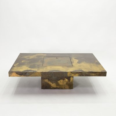 Unique Isabelle & Richard Faure brass coffee table, 1970s