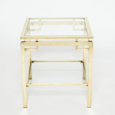 French Brass two-tier end table by Guy Lefevre for Maison Jansen, 1970s