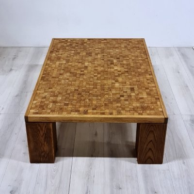Oak endwood mosaic coffee table by Rolf Middelboe & Gorm Lindum for Tranekaer Denmark, Denmark 1960s
