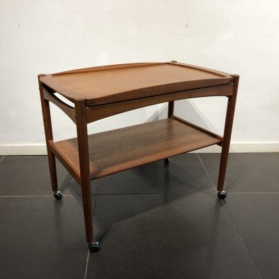 Teak Serving Trolley with Removable Tray by Poul Hundevad, 1960s