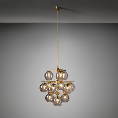 Holger Johansson Chandelier with 12 Smoked Glass Shades for Westal, Sweden 1960s