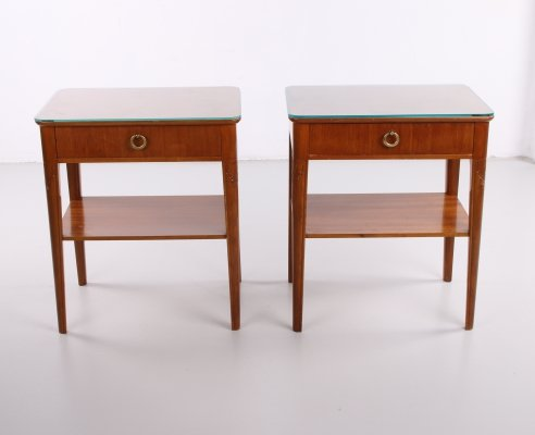 Pair of Vintage nightstands with glass table top, 1950s