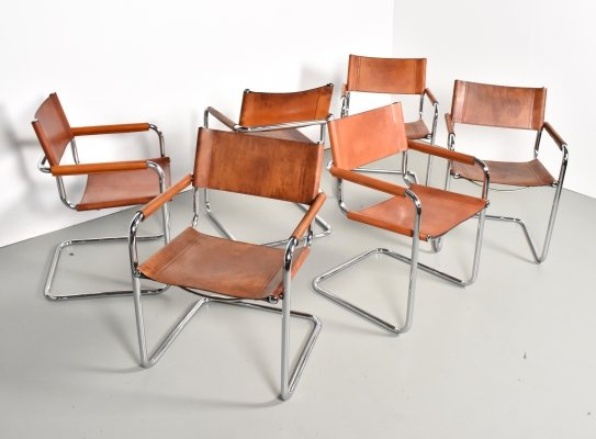 Set of 6 Mart Stam S34 dining chairs in cognac leather for Linea Veam, 1980s