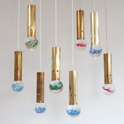 Set of 8 pendant lights by Helmer Andersson for Örsjö Sweden, 1960s