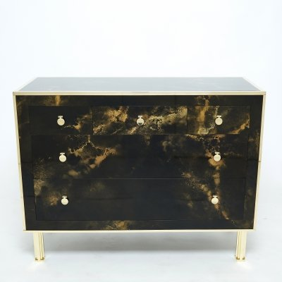Rare golden lacquer & brass Maison Jansen chest of drawers, 1970s