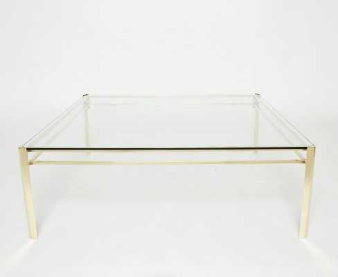 Signed large square bronze coffee table Jacques Quinet for Broncz, 1960s