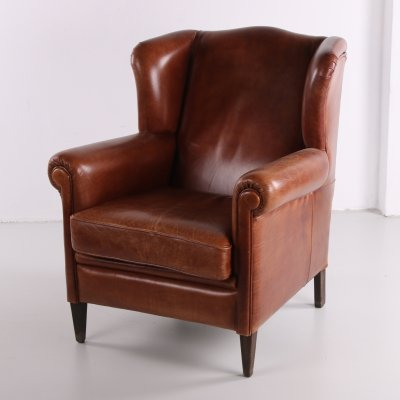 Vintage sheeps leather armchair, 1970s