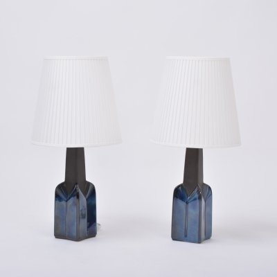 Pair of blue Mid-Century Modern Stoneware lamps by Einar Johansen for Soholm