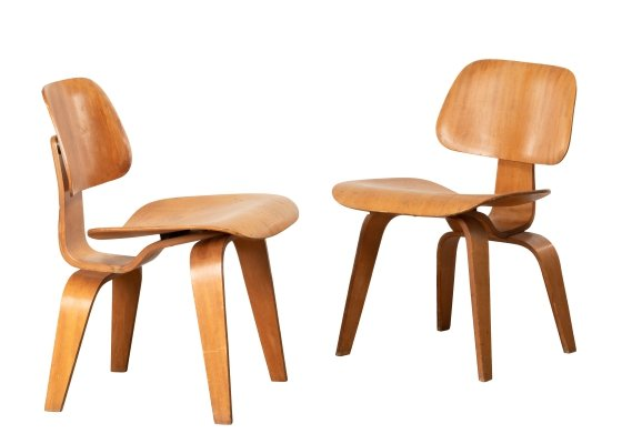 2 x DCW dining chair by Charles & Ray Eames for Evans, 1940s