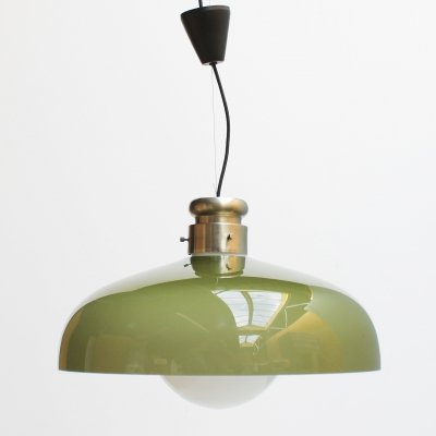 Large cased glass Italian pendant by Alessandro Pianon for Vistosi, 1960