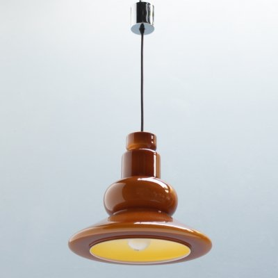 Bell shaped cased glass pendant by Peill & Putzler, Germany 1970s