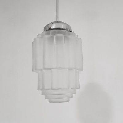 Art deco skyscraper pendant light, 1930s