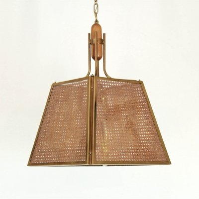 1970s vintage wicker ceiling lamp