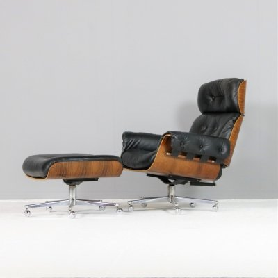 Martin Stoll for Giroflex 'Rosewood' Lounge Chair with Ottoman, Swiss 60s