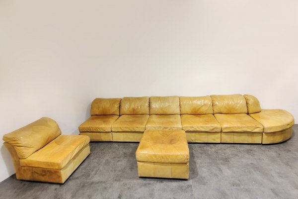 Vintage modular leather sofa by Laauser, 1960s