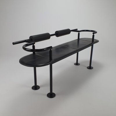 Postmodern Steel & Leather Bench by Cy Mann for Polflex Italy, 1989