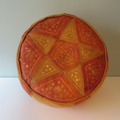 Moroccan pouf in leather with star motif, 1970s