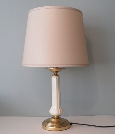 Table lamp in brass & white ceramic, 1970s