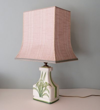Large ceramic table lamp with palm leaf motif, France 1970s