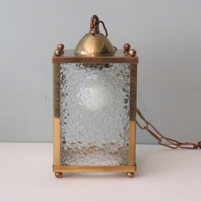 Square brass French lantern ceiling lamp, 1950s