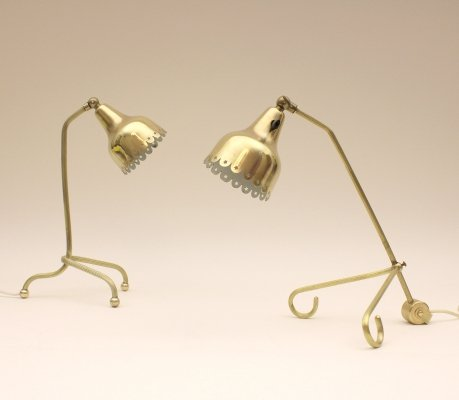 Scandinavian desk lamps in brass, Scandinavia 1950s