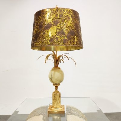 Brass & marble pineapple leaf table lamp, 1960s