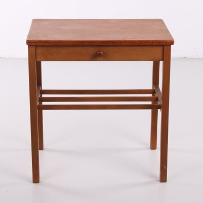 Small vintage bedside table with slats, 1960s
