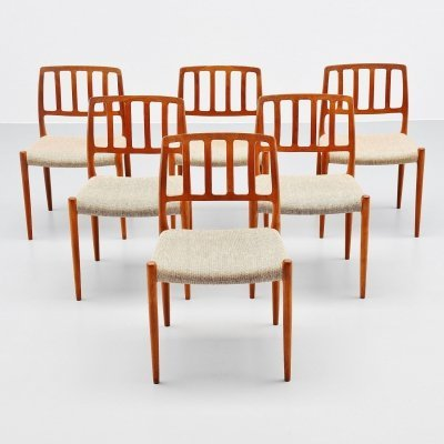 Niels Moller model 83 teak dining chairs, Denmark 1974