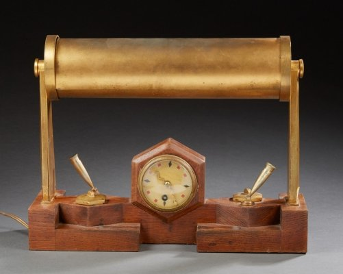 Lighting clock desk set, 1930s